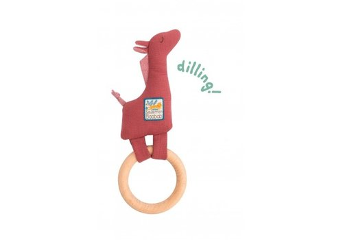 Moulin Roty Moulin Roty Wooden Ring Rattle Giraffe 'Sous mon Baobab'