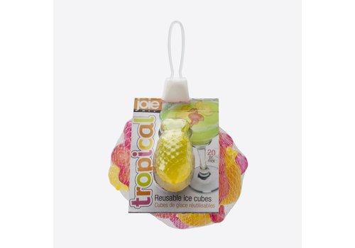 Joie Joie Tropical Set van 20 Herbruikbare Ijsblokjes Flamingo en Ananas