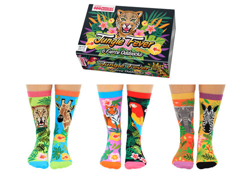 Odd Socks ODD Socks Dames Sokken Jungle Fever in Box 3 paar maat 37-42