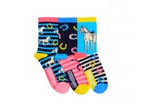 Odd Socks ODD Socks Horse Design Set met 3 Sokken maat 30,5 - 38,5