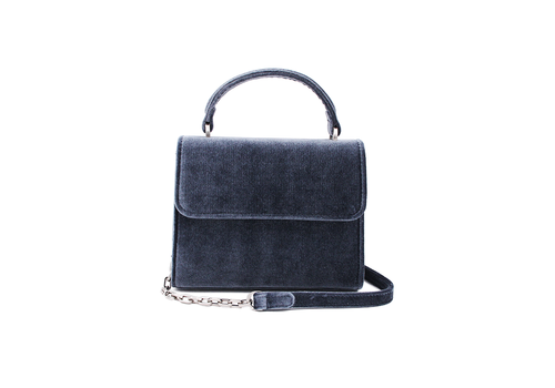 "Denise Roobol Denise Roobol ""Mini Handle Bag"" Dark Blue Velvet"