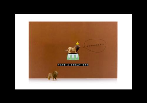 Leuke Kaartjes Leuke Kaartjes Greeting Card  Have a Great Day met Lion