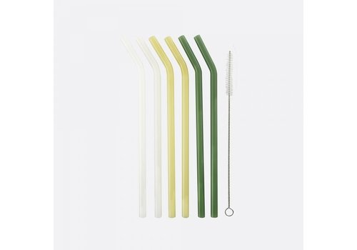 Point-Virgule Point Virgule Set of 6 Bent Glass Drinking Straws with Cleaning Brush and Pouch