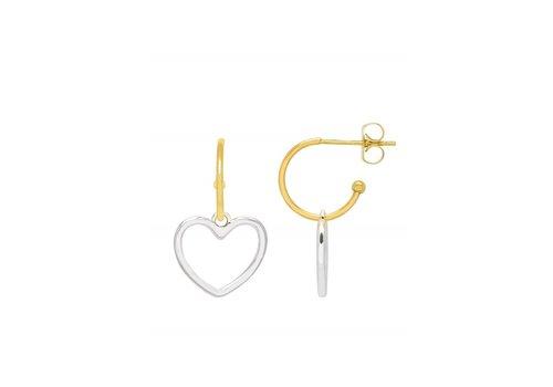Estella Bartlett Estella Bartlett Mini Hoop Earrings with Large Heart