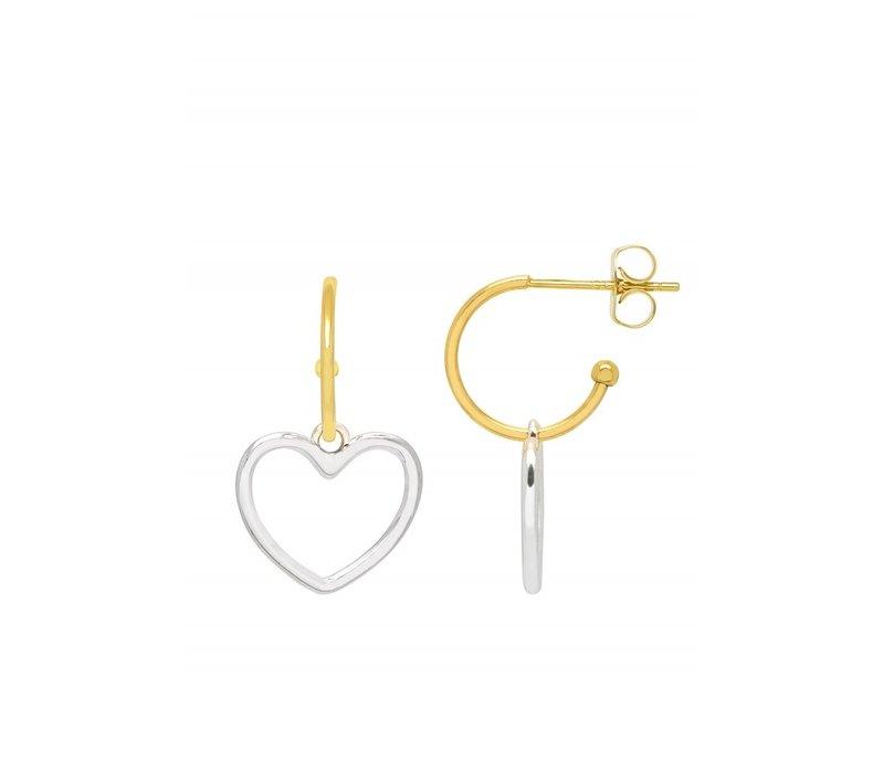 Estella Bartlett Mini Hoop Earrings with Large Heart