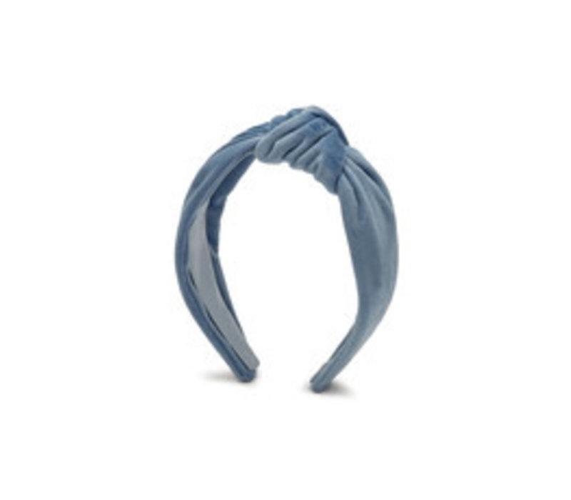 Estella Bartlett Fluwelen Haarband met Knoop Alice Blauw