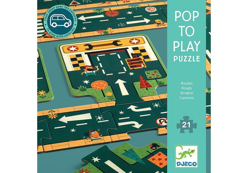 Djeco Djeco Puzzel Pop to Play Autowegen 21 stuks