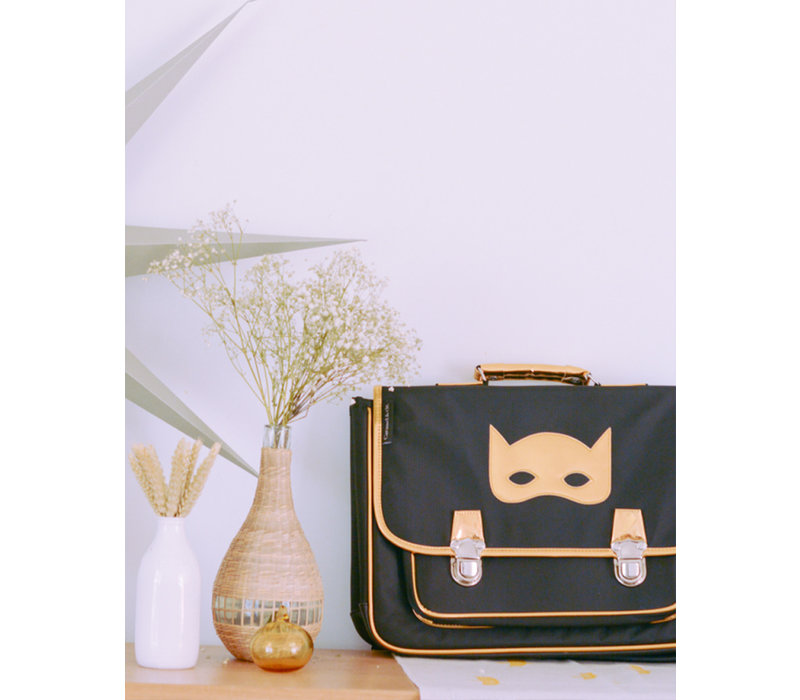 Caramel & Cie Schoolbag Black with Golden Mask Medium
