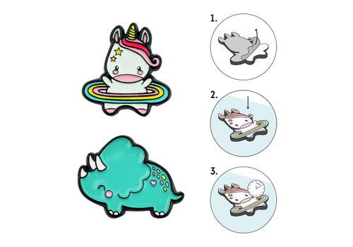 Legami Legami Set van 2 Metalen Stickers Unicorn voor Smartphone