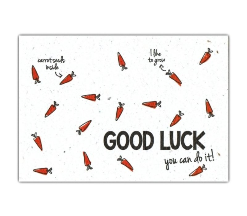 Bloom Greeting Card with Carrot Seeds Good Luck