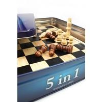 Tactic Klassieke Houten Spellencollectie 5 in 1 in Tinnen Box