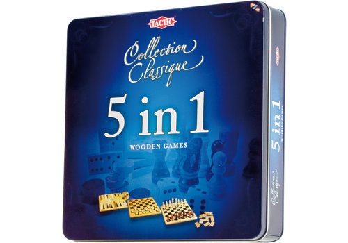 Tactic Tactic Klassieke Houten Spellencollectie 5 in 1 in Tinnen Box