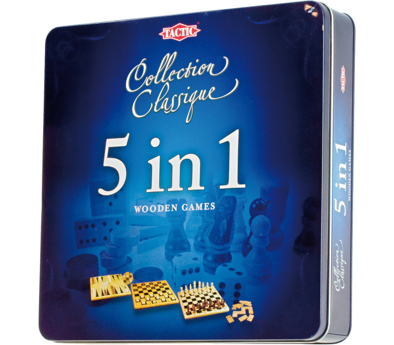 Tactic Classic Collection 5 in 1 Wooden Games in Tin Box