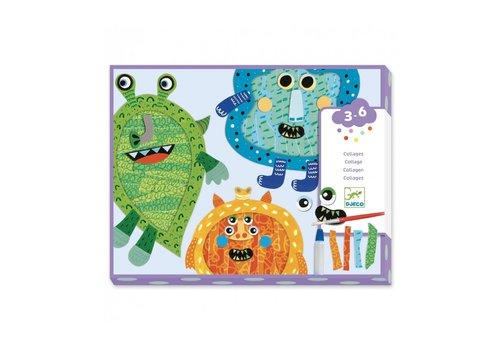 Djeco Djeco Collage Scheuren en Plakken Happy Monsters