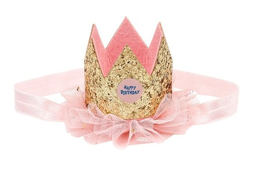 Souza! Souza! Birthday Crown Gold ruffle on Elastic Hairband