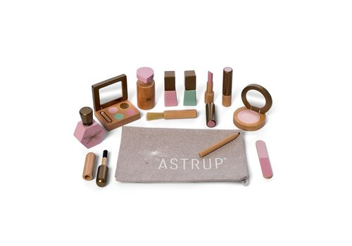 By Astrup By Astrup Wooden Makeup Set in Toiletry Bag 13 pieces