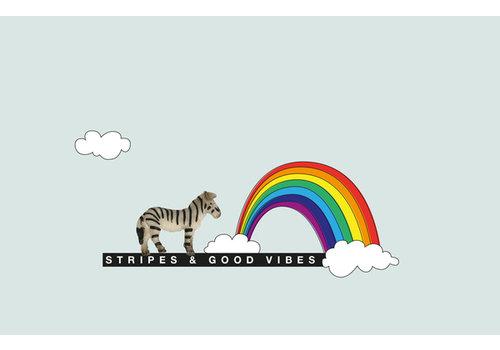Leuke Kaartjes Leuke Kaartjes Greeting Card Stripes & Good Vibes With Zebra