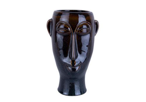 Present Time Present Time Plantenpot Mask Porselein Donkerbruin 27 cm