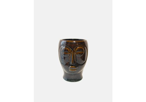 Present Time Present Time Plant Pot Mask  22 cm Porcelain Dark Brown