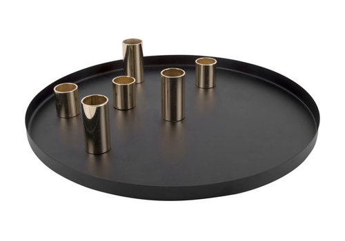 Present Time Present Time Candle Holder Plate Steel Black/gold