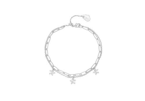 Estella Bartlett Estella Bartlett Double Chain Bracelet with Stars Silver Plated