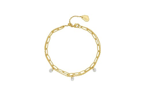 Estella Bartlett Estella Bartlett Double Chain Bracelet with Droplets Gold Plated