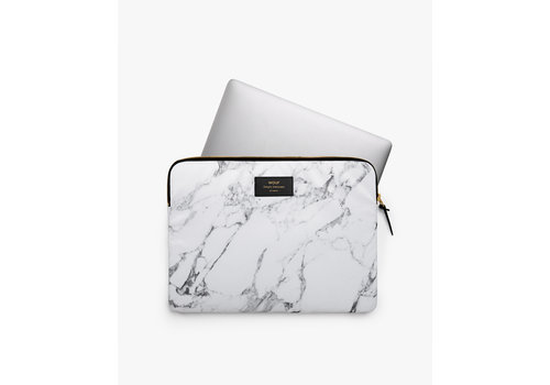 Wouf WOUF White Marble Laptop Sleeve 13""