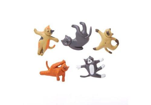 Kikkerland Kikkerland Set Van 5 Kattenyoga Magneten
