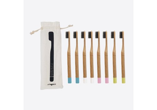 Cookut Cookut Bam Bam Set of 8 Tooth Brush from Bamboo 2 x pink, 2 x white, 2 x blue and 2 x green