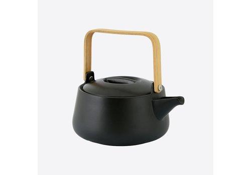 Point-Virgule Point-Virgule Porcelain Teapot with Bamboo Handle Mat Black 1 L