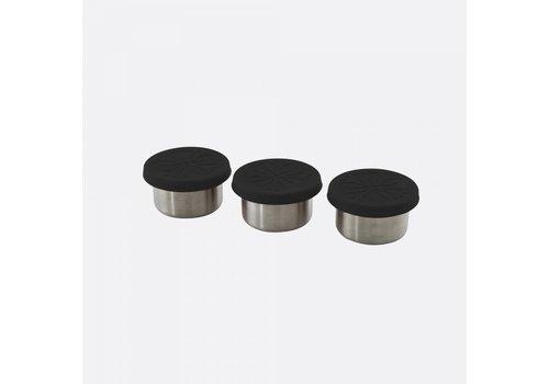 Point-Virgule Point-Virgule Set van 3 Voorraaddoosjes RVS met Siliconen Deksel Zwart 60 ml