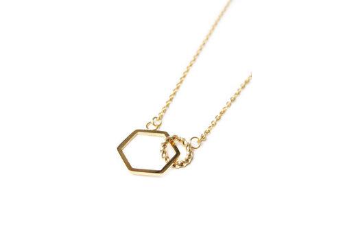 Label Kiki Label Kiki Halsketting Hexagon Twist Gold