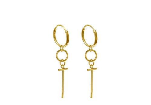 Label Kiki Label Kiki Earrings Small Cross Hoop Gold
