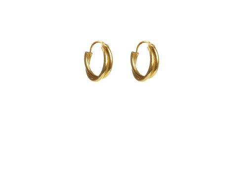 Label Kiki Label Kiki Earrings Gold Double Twisted Hoops
