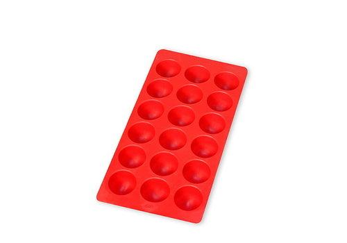 Lékué Lékué Ijsblokjesvorm uit Rubber 18 Ronde Ijsblokjes Rood met Deksel
