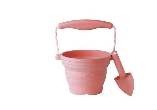 Scrunch Scrunch Seeding Pot  With Shovel Old pink