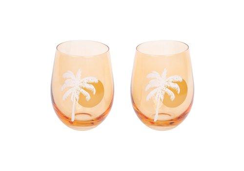 Sunnylife Sunnylife Cheers Set of 2 Stemless Glass Tumblers Desert Palms