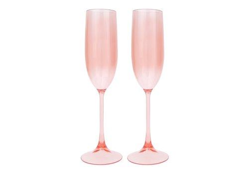 Sunnylife Sunnylife Poolside Set van 2 Champagne Glazen Poeder Roze