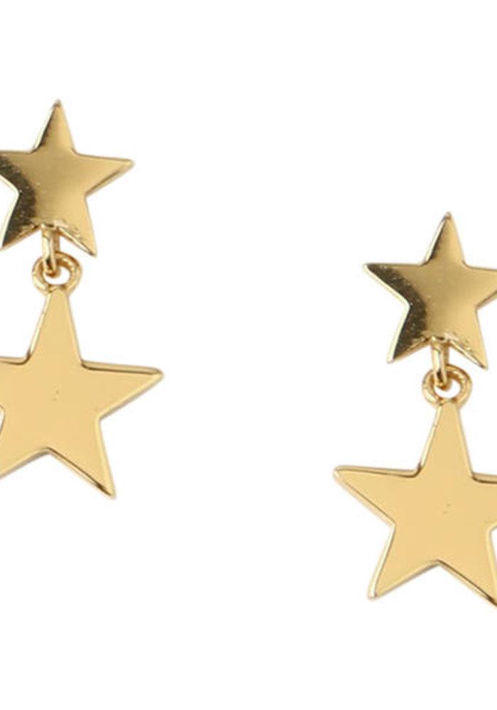 Orelia - Double Star drop stud earrings