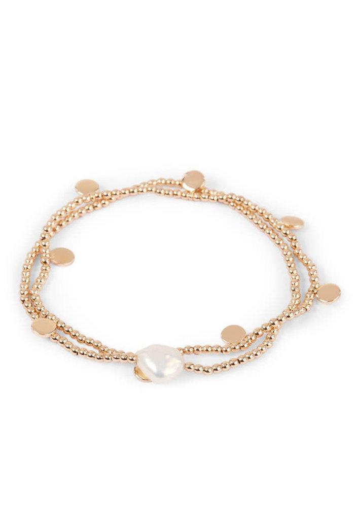 Orelia - Pearl Coin Stretch Bracelet