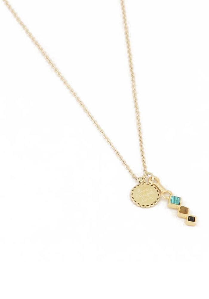 My Jewellery - Ketting bedel & donkere edelsteen