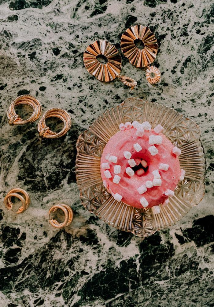 Oorbellen drie ringen print goud