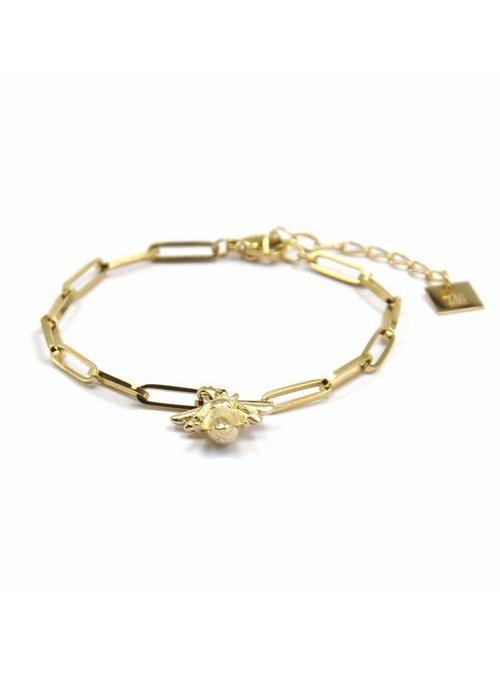 Zag Bijoux ZAG - Bee Armband Chunky chains goud