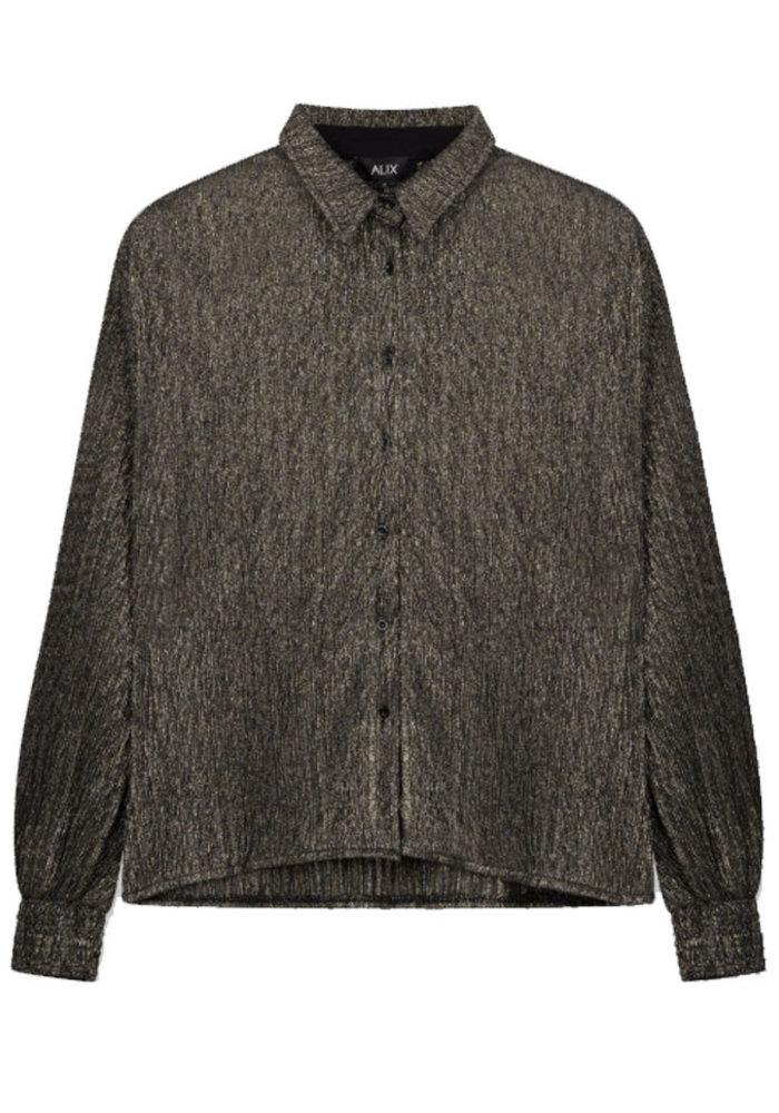 Alix - Ladies knitted lurex mesh blouse
