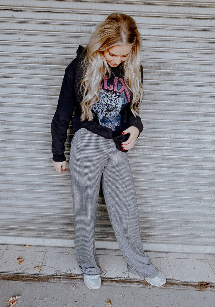 Alix - Knitted wide leg herringbone pants