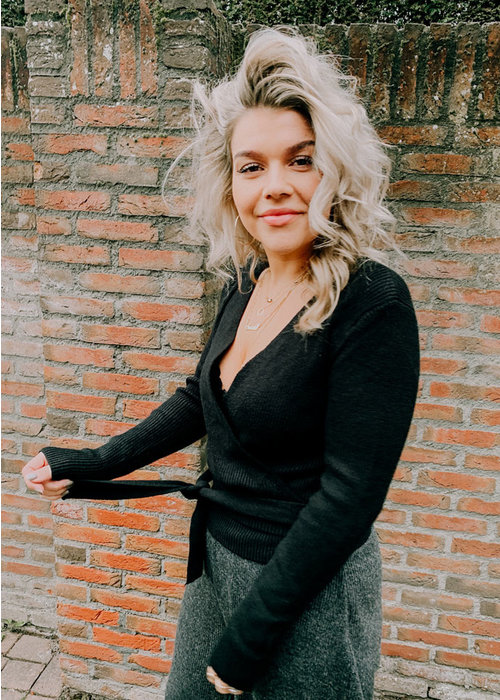 Willy - Knitted Wrap Top Zwart