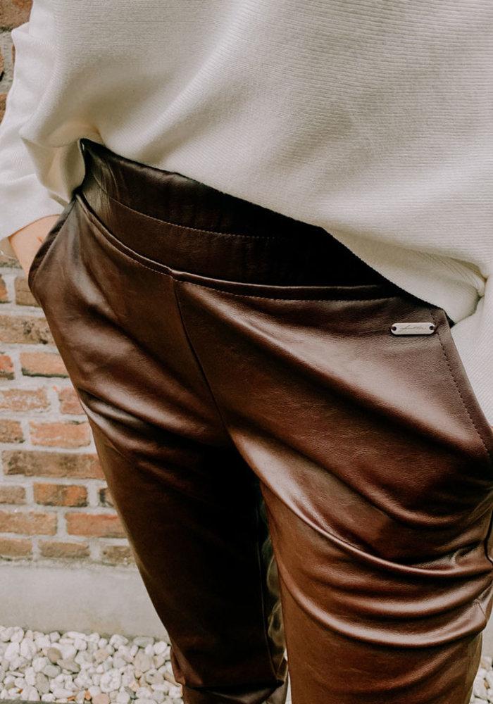 Vegan Leather Pants - Bordeaux