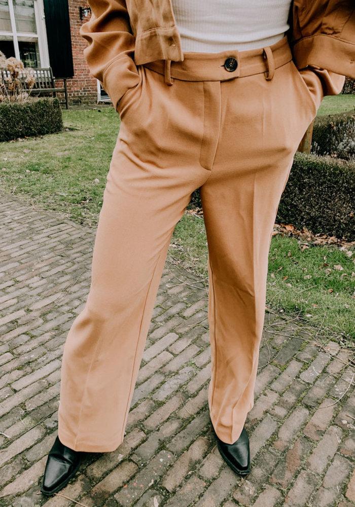 Wide Leg Bottom Pants -  Beige