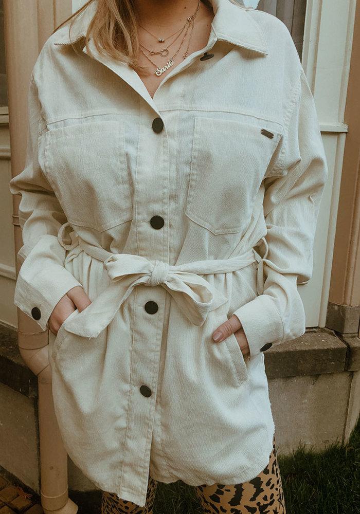 Kim - Suede Coat Broken White