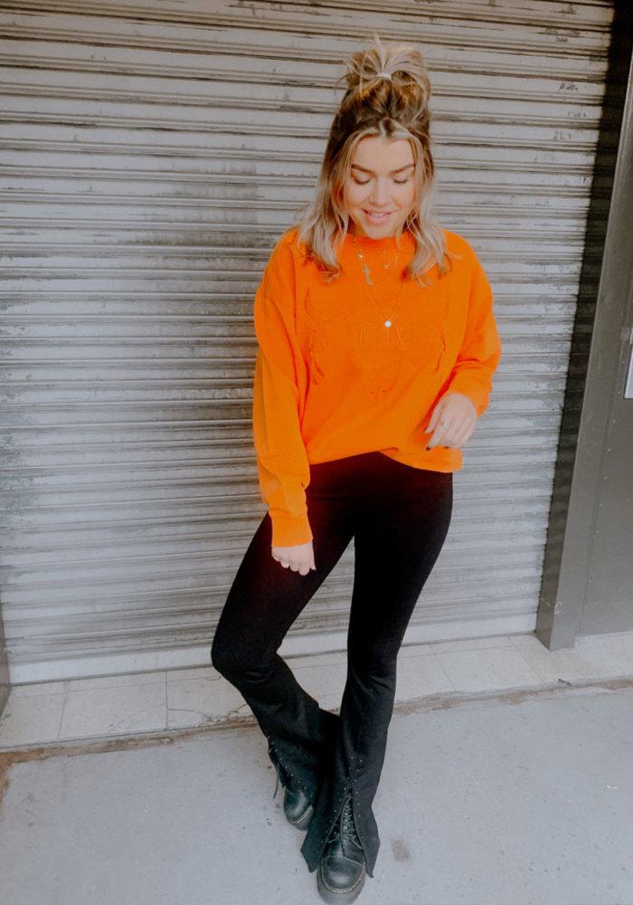 Alix - ladies knitted pistol sweater Soft Orange